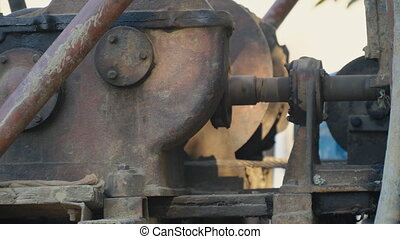 iron revolving mechanism in the open air close-up