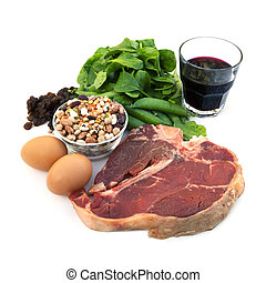 Iron-Rich Foods - Food sources of iron, including red meat,...
