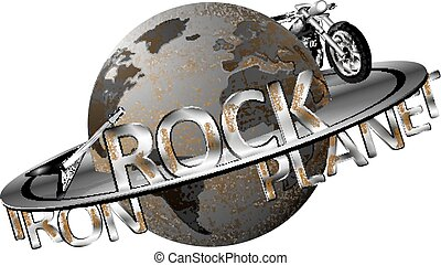 Vector illustration of Earth with an iron metal shingles disk and labeled rock, metal planet, motorcycle and electric rock guitar on the disc.