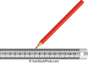 iron ruler red pencil isolated vector
