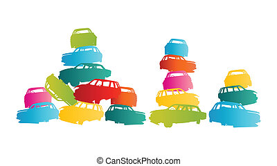 Iron scrap car junkyard vector background landscape concept ...