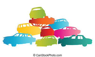 Iron scrap car junkyard vector background landscape concept...