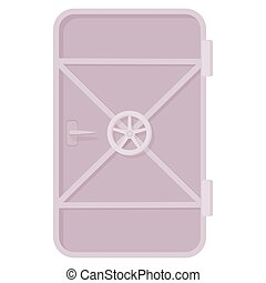 Iron ship door with lock wheel icon in cartoon style on a white background