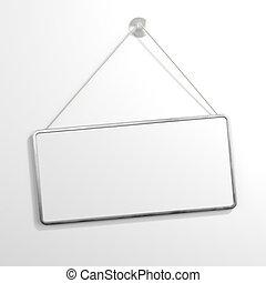 Iron sign hanging isolated on white background