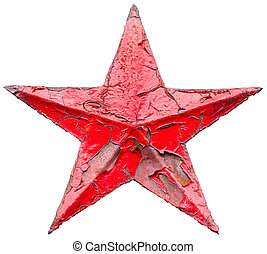 Iron socialist red star isolated on white background