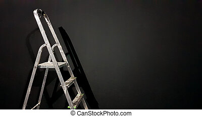 Iron step ladder against a gray wall. Preparing for home repairs. Old and dirty aluminum in an empty room, shadow. White gray stucco concrete wall copy space background with staircase. 3D rendering