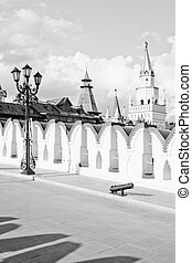 iron street lamp on stone bridge black and white