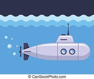 iron submarine in the blue ocean.