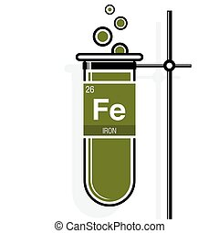 Flashcard of iron with atomic mass illustration vector clip art iron symbol on label in a green test tube with holder element number 26 of urtaz Image collections