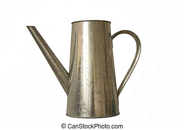 Iron watering can isolated over white