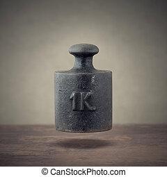 iron weight  - Vintage 1 kilogram calibration iron weight