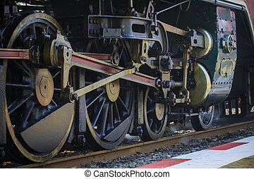 iron wheels of stream engine locomotive train on railways track perspective to golden light forward use for old and classic period land transport and retro vintage style background Image ID:246972886