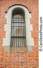 Iron Window on brick wall