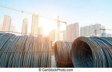 iron wires under the sky for construction