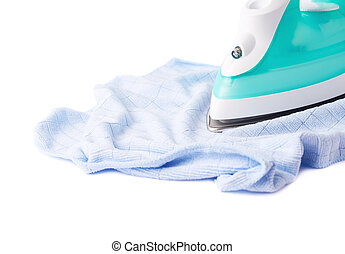 Iron with blue cloth isolated on a white background