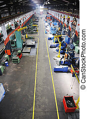 factory indoor - iron works steel and machine parts modern...