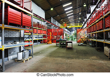factory indoor - iron works steel and machine parts modern...