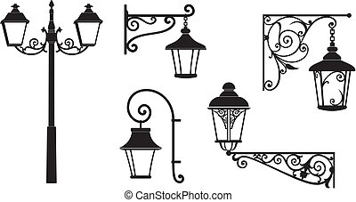Iron wrought lanterns with decorative ornaments. Vector illustration.