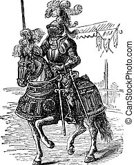 Ironclad full bodied armored horse and rider. Old engraving...