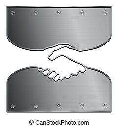 Ironclad handshake - An ironclad handshake illustrating a...