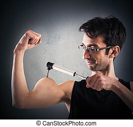 Ironic muscular man - Man inflates his muscles with a pump