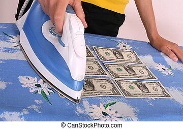 ironing, amerikaanse dollars