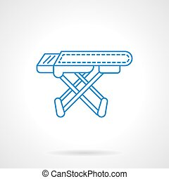 Ironing board blue flat line vector icon - Laundry equipment...