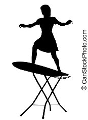 Ironing board surfer silhouette