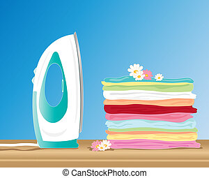 an illustration of a modern iron next to a pile of fresh clean laundry on a wooden table with a blue background