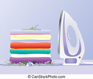 an illustration of a modern iron with a stack of fresh clean laundry neatly pressed on a lavender background