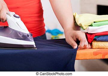 Ironing clothes and towels