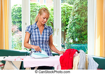 ironing, durante, ferro, dona de casa, laundry.