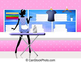 illustration of ironing