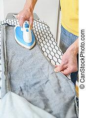 ironing, jeans., man