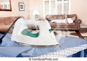 ironing, man