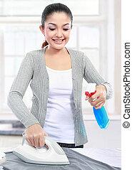 ironing, mulher, roupas