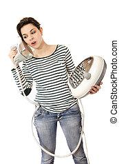 ironing, woman.