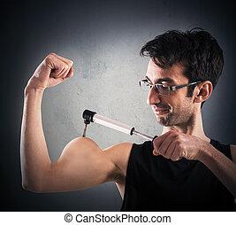 ironisch, muskulös, mann