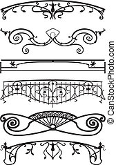 Ironwork balconies - Vector illustration of an architectural...