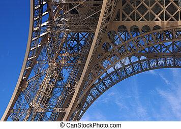 Basic column of Eiffel tower. Paris, France