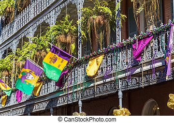 Ironwork galleries on the Streets of French Quarter decorated for Mardi Gras in New Orleans,  Louisiana