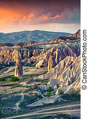 irréel, mondiale, de, cappadocia., levers de soleil, dans,...