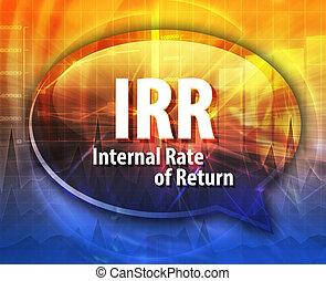 IRR acronym word speech bubble illustration - word speech ...