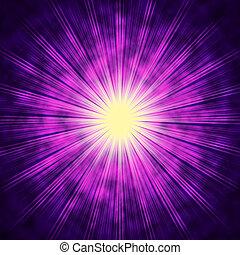 irradiar, brillante, medios, plano de fondo, sol, estrella púrpura