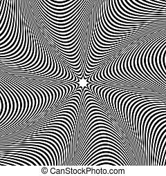 irradiar, distorsión, resumen, concéntrico, pattern., efecto, elemento, lines., radial, monocromo, forma., deformación, circular