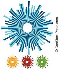 irradiar, patrón, resumen, -, ilustración, lines., vigas, radial, rayos, circular