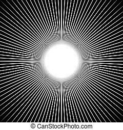 irradiar, pattern., starburst, beams., radial, rayos, líneas