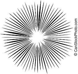 irradier, pointu, lines., éclatement, vecteur, converger, ...