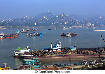 Irrawaddy River and city of Sagaing - Myanmar