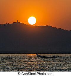 Irrawaddy River Sunset - Myanmar